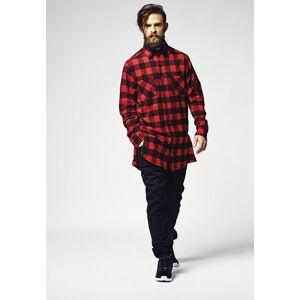 URBAN CLASSICS FLANELLI-KAULUSPAITA - Side-Zip Long Checked Flanell Shirt Red - URBAN CLASSICS