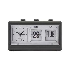 House Doctor - Retro Vækkeur Med Alarm Og Kalender - Sort