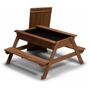Woodlii Picknickbord med Sandlåda + Lock, Brun