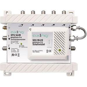 Axing SPU 54-09 SAT multiswitch innganger (multiswitches): 5 (4 SAT/1 terrestrial) nr. deltakere: 4 ventemodus, Quad LNB kompatibel