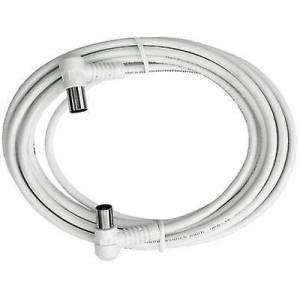 Axing Antenner Kabel [1x Belling-Lee/IEC plugg 75Ω - 1x Belling-Lee/IEC socket 75Ω] 5,00 m 85 dB hvit