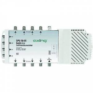 Axing SPU 58-05 SAT multiswitch innganger (multiswitches): 5 (4 SAT/1 terrestrial) nr. deltakere: 8 Quad LNB kompatibel