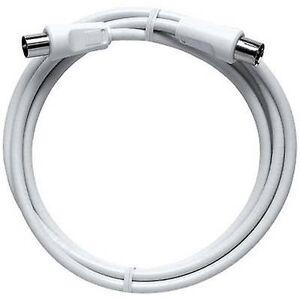 Axing antenner kabel [1 x Belling-Lee/IEC plug 75 ω - 1 x Belling-Lee/IEC socket 75 ω] 1,25 m 85 dB hvit