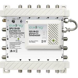 Axing SATT multiswitch Axing SPU 58-09 innganger (multiswitches): 5 (4 SAT/1 terrestrial) nr. deltakere: 8 ventemodus, Quad LNB kompatibel