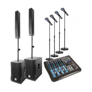 Power Dynamics PD812 Aktivt Array System 900w - inkl. mixer & mikrofoner TILBUD