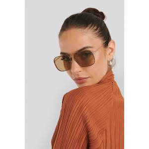 NA-KD Accessories Squared Wire Frame Sunglasses - Brown