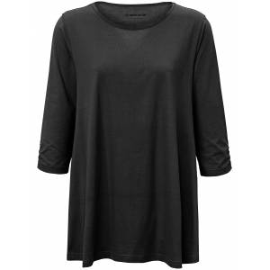 Green Cotton Lang bluse 3/4-ærmer i 100% bomuld Fra Green Cotton sort