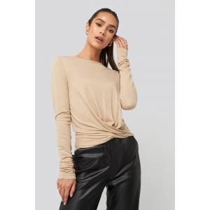NA-KD Front Knot Long Sleeve Top - Beige