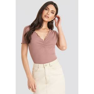 NA-KD Front Ruched Babylock Top - Pink