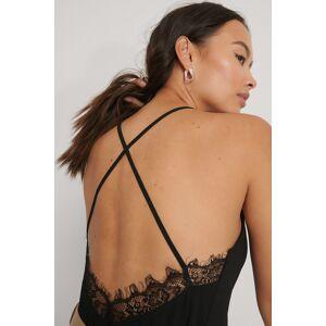 NA-KD Party Lace Back Top - Black