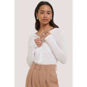 NA-KD Trend Long Sleeve Sheer Cardigan - White