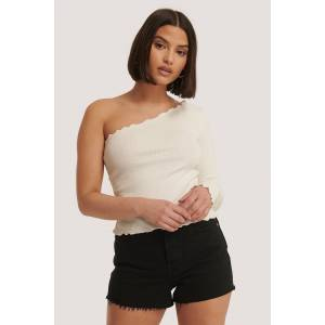 NA-KD One Shoulder Baby Lock Top - White