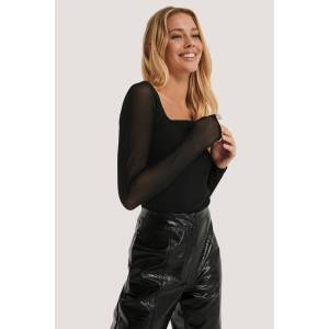 NA-KD Party Squared Neck Mesh top - Black