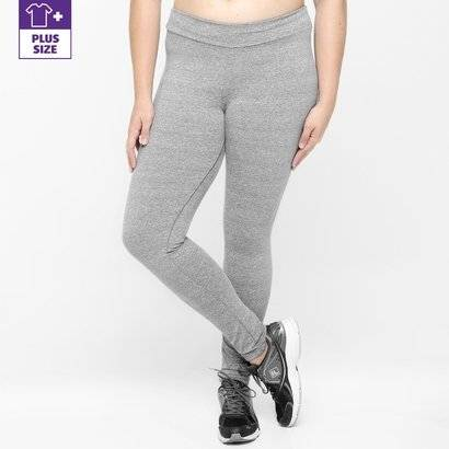 Calça Legging Plus Size Fila NS Feminina - Feminino-Cinza