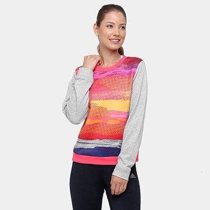 Moletom Adidas Stellasport Sweater Feminino - Feminino-Rosa+Cinza