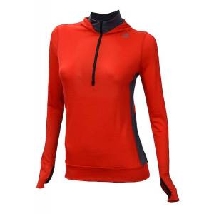 Aclima LightWool dame Hoodie High Risk Red/Iron Gate