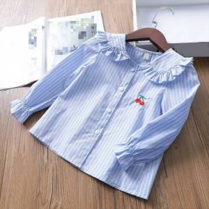 Kids' Shirts GIRL'S Shirt 2019 Spring And Autumn Children Stripes GIRL'S Shirt Korean-style Bell Sleeve Lace BABY'S Top