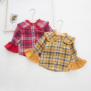 Dudu Cream Korean-style Bell Sleeve CHILDREN'S Shirt 19 Autumn Childrenswear New Style Plaid Cotton GIRL'S Shirt