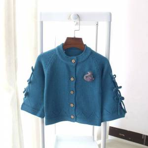 Girl'S Knitted Cardigan 2019 New Style Spring And Autumn Children Pullover Bell Sleeve Bow Baby Sweater Coat