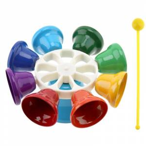 ELOS-IRin Colorful 8 Note Percussion Bell Handbell Musical Toy for Kids Children Baby Early Education Musical Instrment Gift