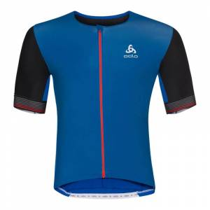 Odlo Men's Shirt Shortsleeve Full Zip Ceramicool Blå