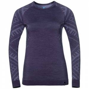 Odlo Women's Suw Top Crew Neck Longsleeve Natural Lilla