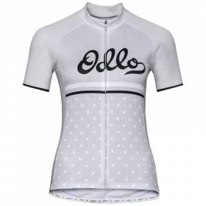 Odlo Women's Stand-up Collar S/S Full Zip Grå