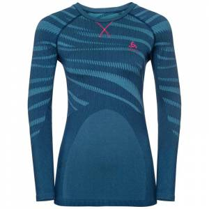 Odlo Women's Suw Top Crew Neck L/S Performance Blå