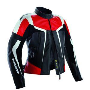 Spidi Gara Ladies motorsykkel skinnjakke Svart Hvit Rød 44