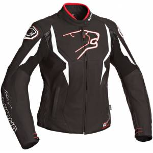 Bering Agera Lady motorsykkel skinnjakke Svart Hvit 44