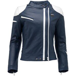 Blauer Charlie Ladies motorsykkel skinnjakke Hvit Blå XL