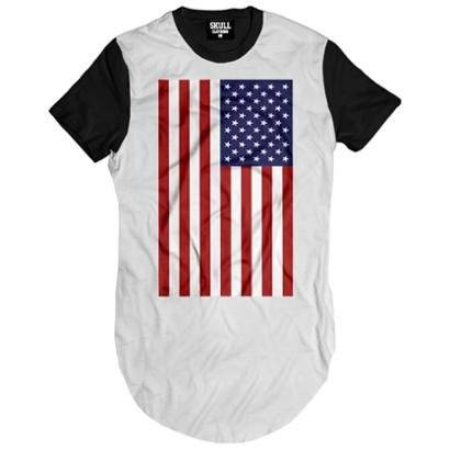 Camiseta Longline American Flag Masculina - Masculino