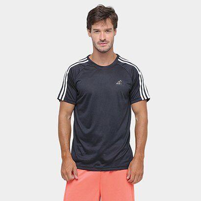 Camiseta Adidas 3S Essential Masculina - Masculino-Preto+Branco