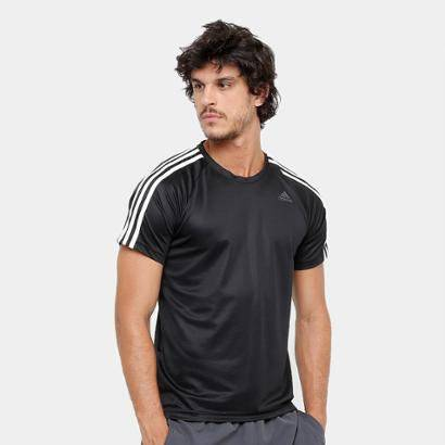 Camiseta Adidas D2M 3S Masculina - Masculino-Preto+Creme