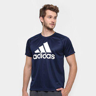 Camiseta Adidas M2M Logo Masculina - Masculino-Marinho+Branco