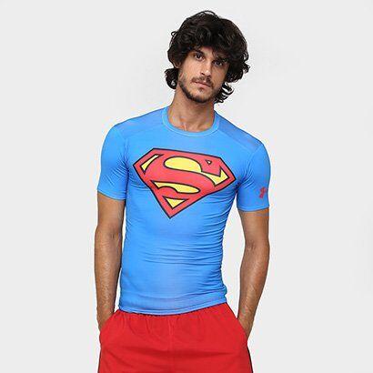 Camiseta de Compressão Under Armour Superman Masculina - Masculino-Azul Royal