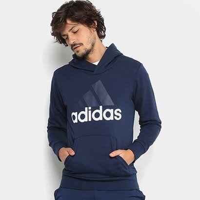Moletom Adidas Ess Lin Po Ft Masculino - Masculino-Marinho+Branco