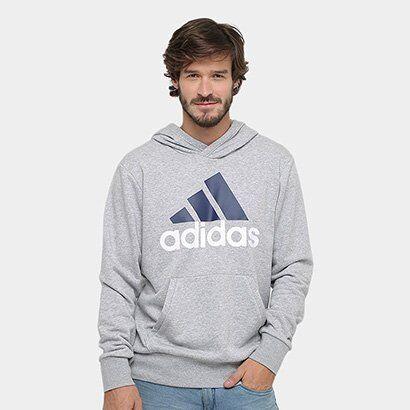 Moletom Adidas Essentials Linear Pullover French Terry C/ Capuz - Masculino-Mescla