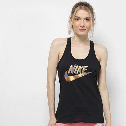 Regata Nike W Nsw Racer Metallic Feminina - Feminino-Preto