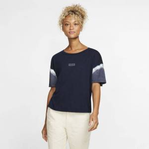 Nike Hurley One And Only Small Box Sleeve Dye Flouncy T-skjorte til dame - Blue