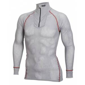 Brynje Wool Thermo Light polo m/glidelås Grey