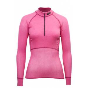 Brynje Lady Wool Thermo Light polo m/glidelås 3/4 hals Pink