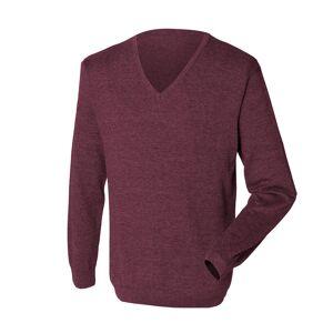 Henbury Mens 12 Gauge Fine strikk hals genser / Sweatshirt Burgund S