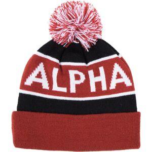Alpha Industries Block Bobble Beanie Svart Rød en størrelse