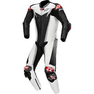 Alpinestars GP Tech v3 Tech-Air Ett stykke perforert Motorsykkel skinn Dress 48 Svart Hvit Sølv