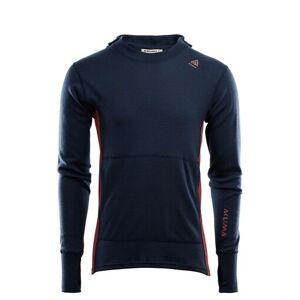 Aclima WarmWool Hood Sweater, M's Navy Blazer, Red Ochre  S