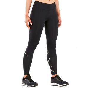 2XU Run Mid-Rise Dash Comp Womens - Tights - Black/Silver Reflective - XS