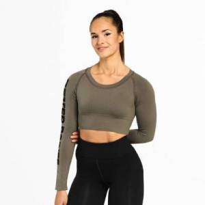 Better Bodies Bowery Cropped LS Wash Green