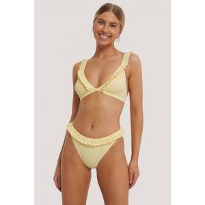 NA-KD Swimwear Bikinunderdel Med Rysjekant - Yellow