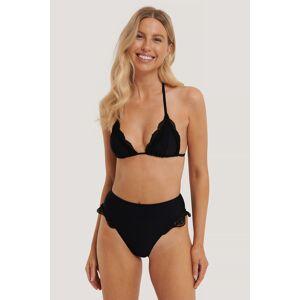 NA-KD Swimwear Bikintruse I Maximodell Med Høyt Liv Og Blondekant - Black